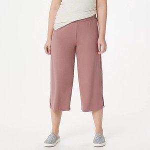 XL LOGO Lori Goldstein Knit Wide Leg Crop Pants